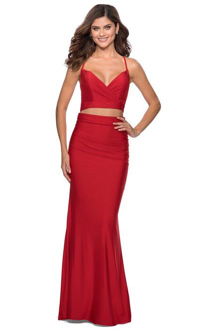 La Femme - 28473 Two-Piece Jersey Sheath Dress In Red