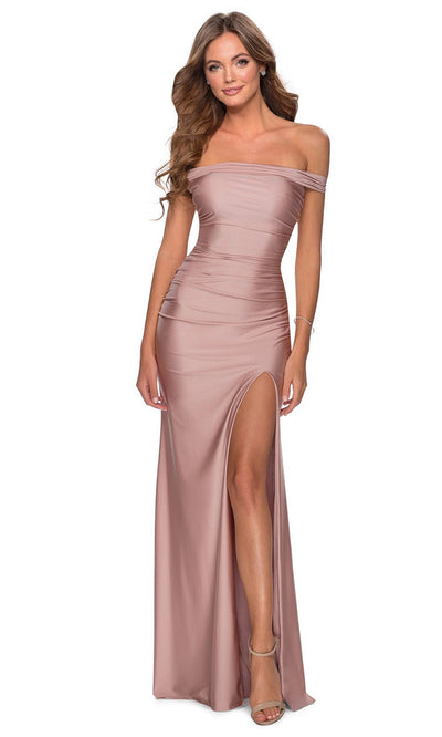 La Femme - 28506 Crisscross Strappy Open Back Fitted Dress In Mauve
