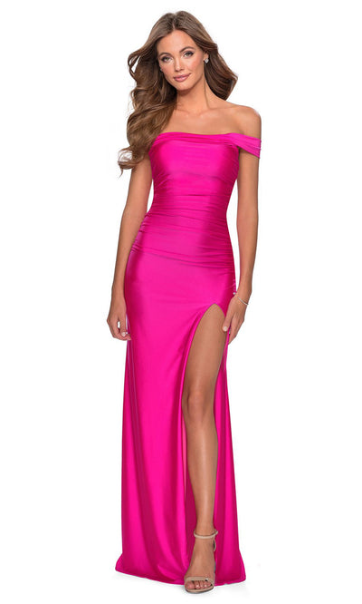 La Femme - 28506 Crisscross Strappy Open Back Fitted Dress In Pink