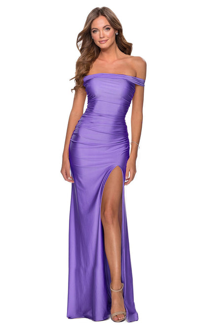 La Femme - 28506 Crisscross Strappy Open Back Fitted Dress In Purple