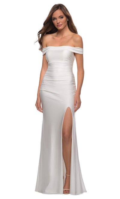 La Femme - 28506 Crisscross Strappy Open Back Fitted Dress In White & Ivory