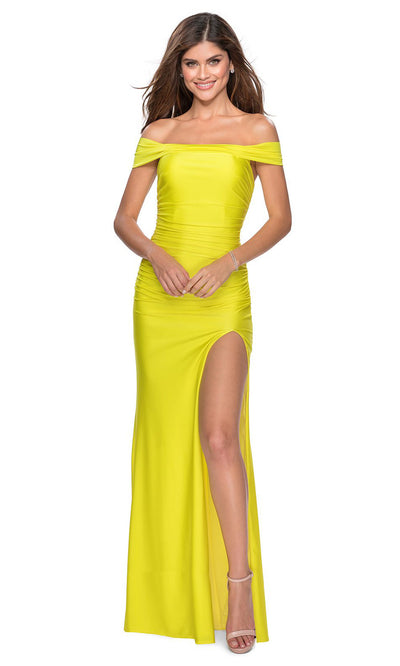 La Femme - 28506 Crisscross Strappy Open Back Fitted Dress In Yellow