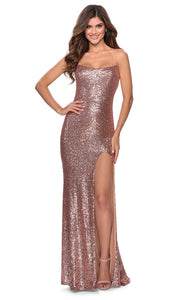 La Femme - 28514 Full Sequin Fitted Dress With Sweep Train In Champagne & Gold
