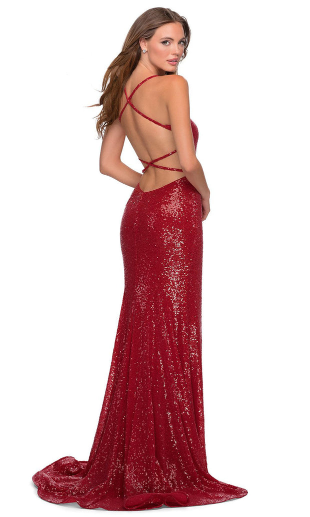 La Femme - 28514 Full Sequin Fitted Dress With Sweep Train In Red