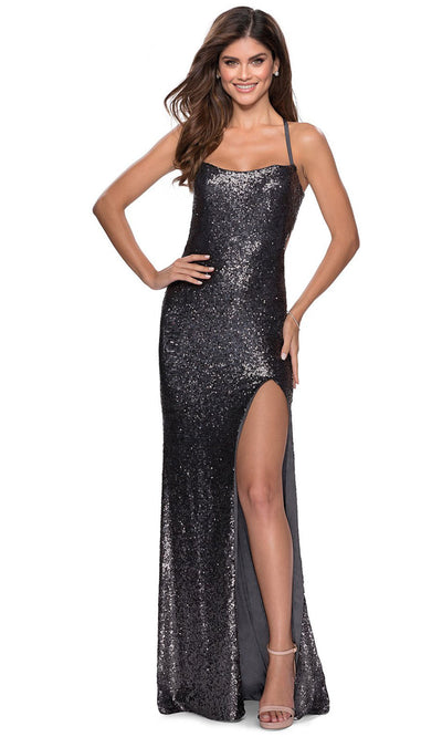 La Femme - 28514 Full Sequin Fitted Dress With Sweep Train In Silver & Gray