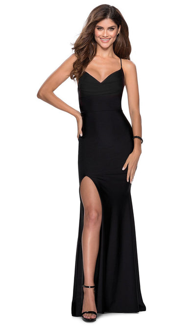 La Femme - 28518 V-Neck High Slit Open Back Long Jersey Gown In Black