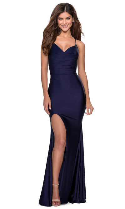 La Femme - 28518 V-Neck High Slit Open Back Long Jersey Gown In Blue