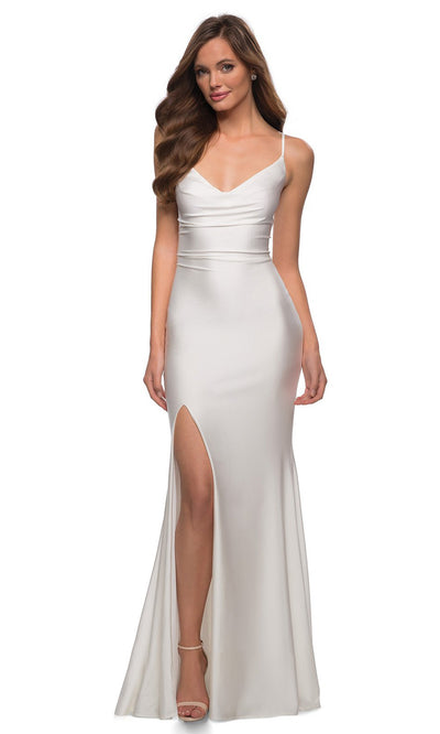 La Femme - 28518 V-Neck High Slit Open Back Long Jersey Gown In White & Ivory