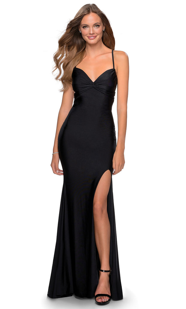 La Femme - 28536 Ruched Bow Bodice Fitted High Slit Gown In Black