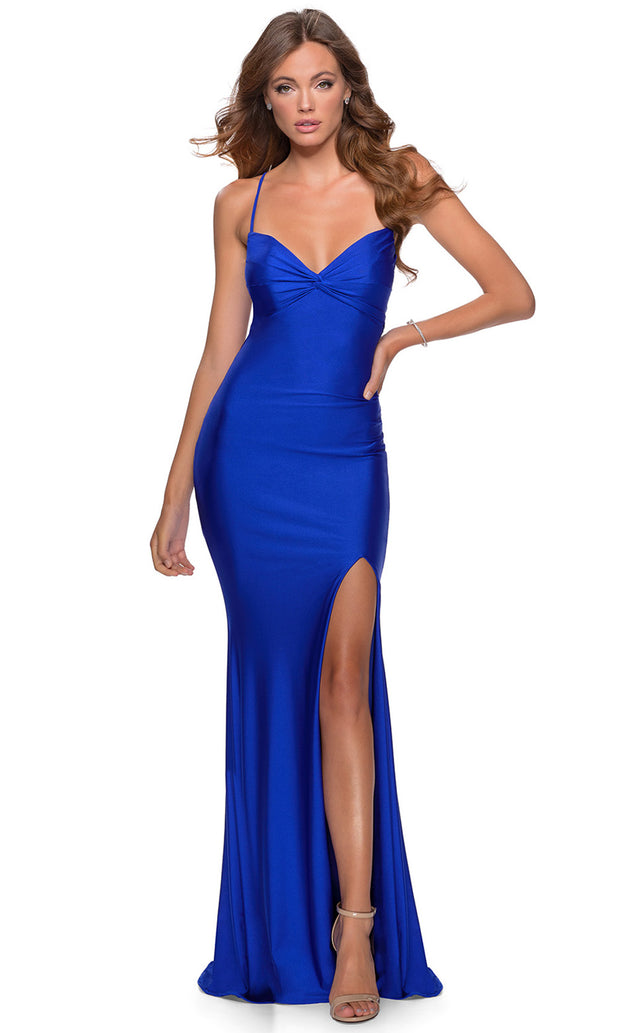 La Femme - 28536 Ruched Bow Bodice Fitted High Slit Gown In Blue