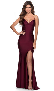 La Femme - 28536 Ruched Bow Bodice Fitted High Slit Gown In Red