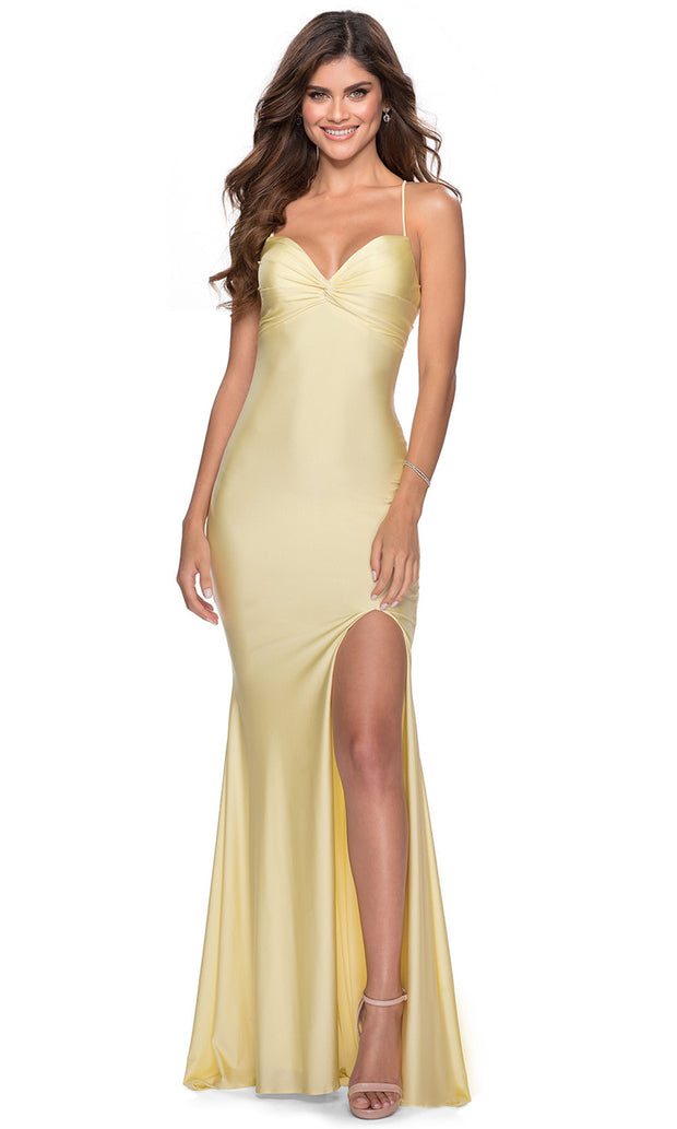 La Femme - 28536 Ruched Bow Bodice Fitted High Slit Gown In Yellow