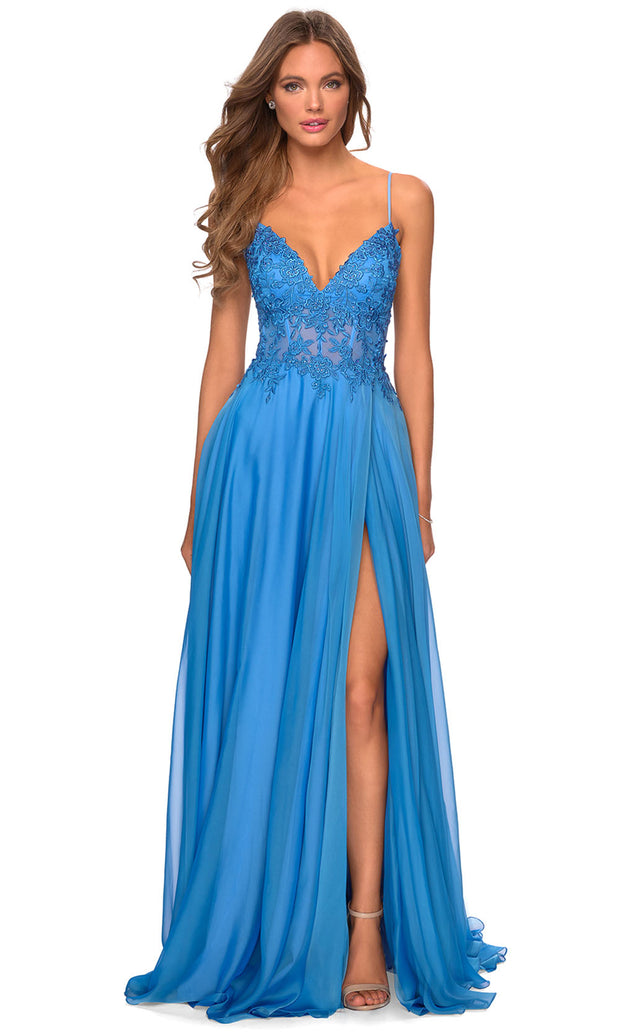 La Femme - 28543 Lace Bodice High Slit Dress In Blue