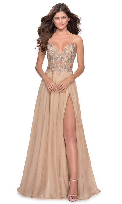 La Femme - 28543 Lace Bodice High Slit Dress In Champagne & Gold
