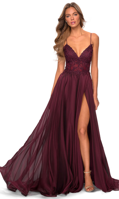 La Femme - 28543 Lace Bodice High Slit Dress In Red