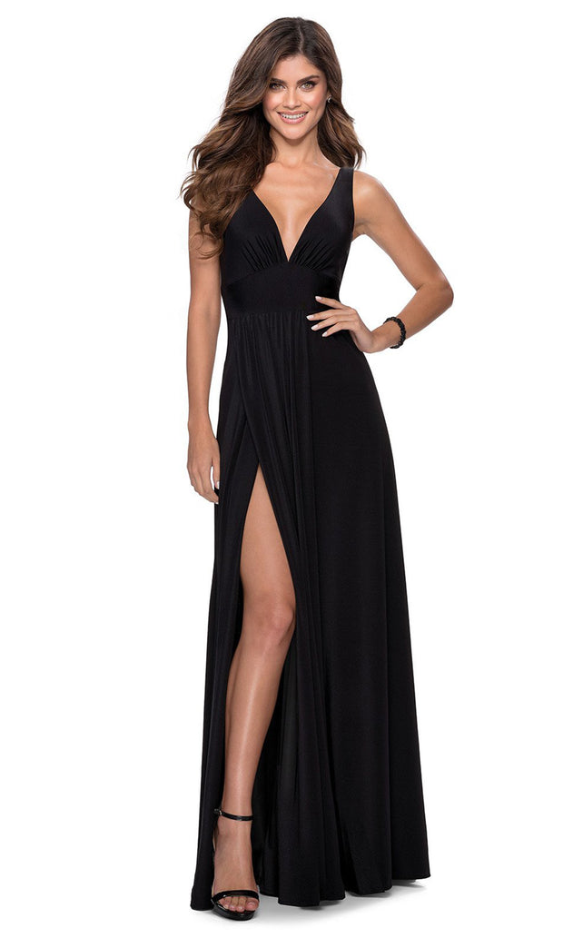 La Femme - 28547 Deep V-Neck Empire Waist Slit A-Line Gown In Black