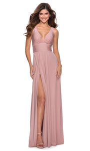 La Femme - 28547 Deep V-Neck Empire Waist Slit A-Line Gown In Mauve