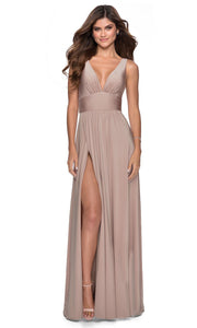 La Femme - 28547 Deep V-Neck Empire Waist Slit A-Line Gown In Neutral
