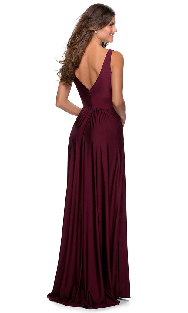 La Femme - 28547 Deep V-Neck Empire Waist Slit A-Line Gown In Red