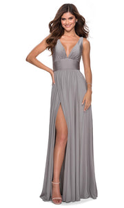 La Femme - 28547 Deep V-Neck Empire Waist Slit A-Line Gown In Silver & Gray