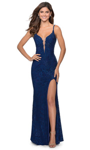 La Femme - 28556 Plunging Bodice Lace Dress In Blue