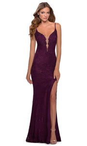 La Femme - 28556 Plunging Bodice Lace Dress In Purple