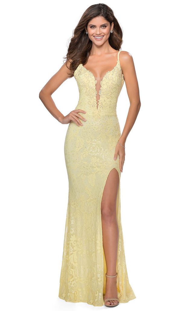 La Femme - 28556 Plunging Bodice Lace Dress In Yellow