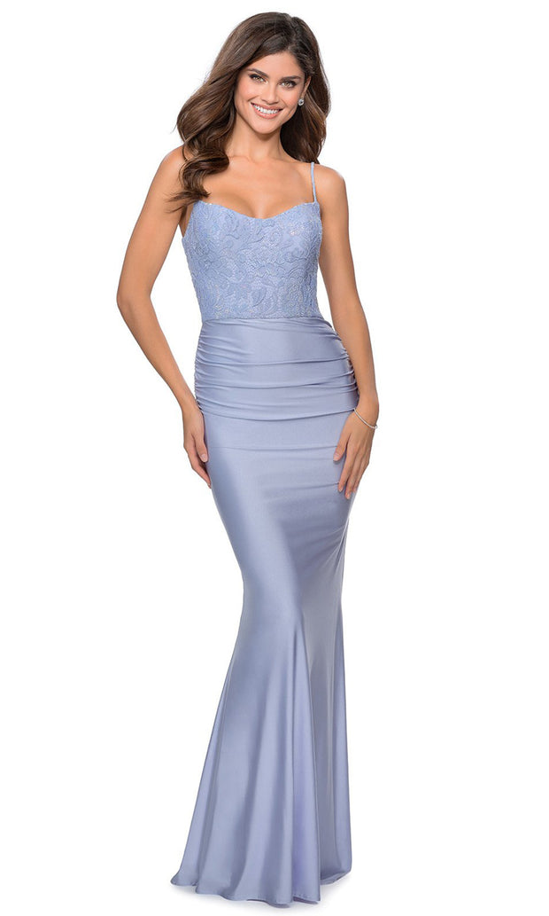 La Femme - 28558 Scoop Lace And Satin Long Dress In Blue