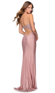 La Femme - 28558 Scoop Lace And Satin Long Dress In Pink