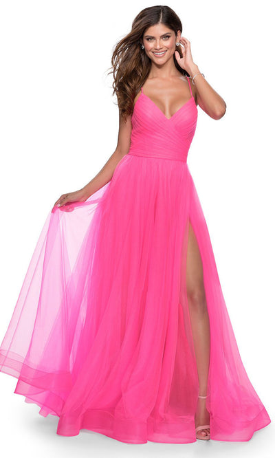 La Femme - 28561 Spaghetti Strap Tulle Dress In Pink