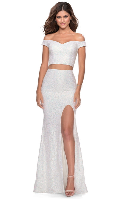 La Femme - 28565 Off Shoulder V-Neck Two-Piece Lace Dress In White & Ivory