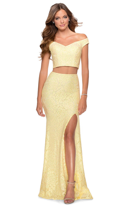 La Femme - 28565 Off Shoulder V-Neck Two-Piece Lace Dress In Yellow