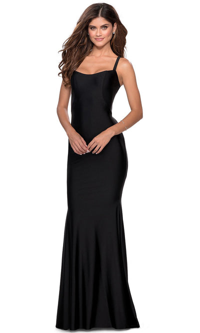 La Femme - 28568 Lace-Up Open Back Fitted Jersey Gown In Black
