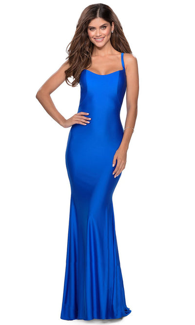 La Femme - 28568 Lace-Up Open Back Fitted Jersey Gown In Blue