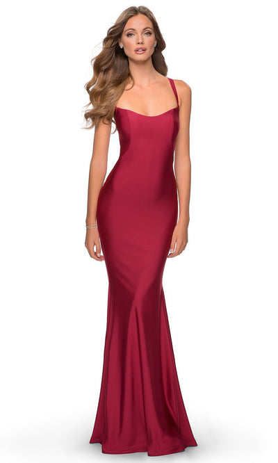 La Femme - 28568 Lace-Up Open Back Fitted Jersey Gown In Burgundy