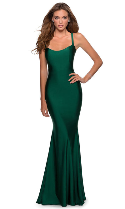 La Femme - 28568 Lace-Up Open Back Fitted Jersey Gown In Green