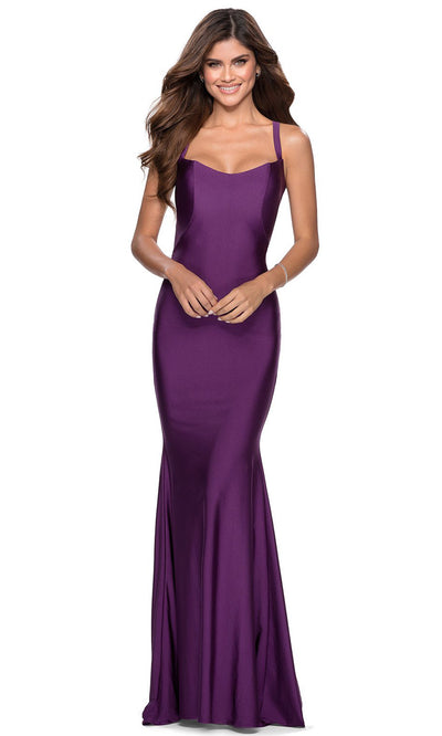 La Femme - 28568 Lace-Up Open Back Fitted Jersey Gown In Purple
