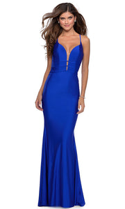 La Femme - 28574 Crisscross Strapped Bodice Jersey Gown In Blue