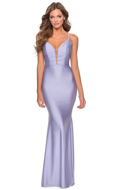 La Femme - 28574 Crisscross Strapped Bodice Jersey Gown In Purple