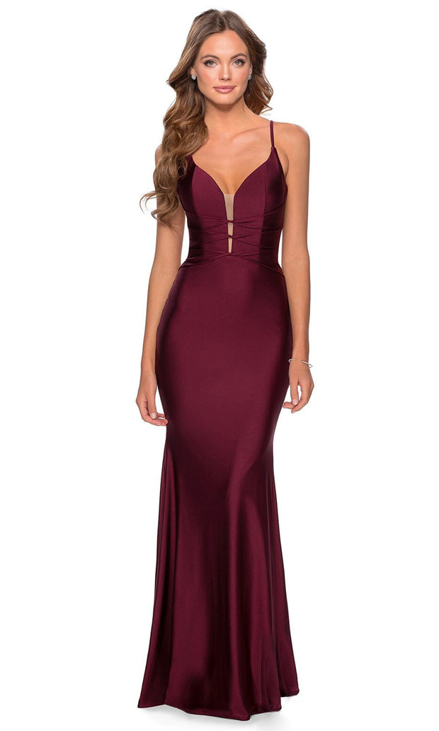 La Femme - 28574 Crisscross Strapped Bodice Jersey Gown In Red