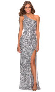 La Femme - 28596 One Shoulder Sequin Dress In Silver & Gray