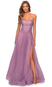 La Femme - 28603 Strapless Beaded High Slit Dress In Pink