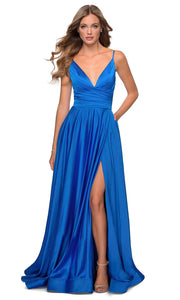 La Femme - 28607 Faux Wrap Satin High Slit A-Line Gown In Blue