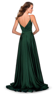 La Femme - 28607 Faux Wrap Satin High Slit A-Line Gown In Green