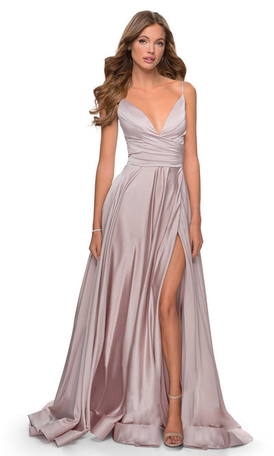 La Femme - 28607 Faux Wrap Satin High Slit A-Line Gown In Mauve