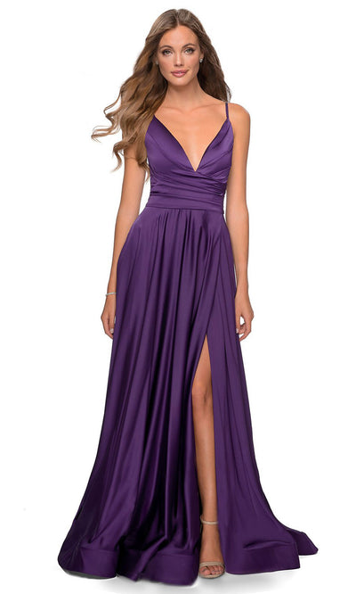 La Femme - 28607 Faux Wrap Satin High Slit A-Line Gown In Purple
