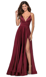 La Femme - 28607 Faux Wrap Satin High Slit A-Line Gown