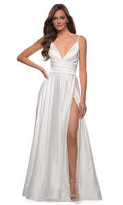 La Femme - 28607 Faux Wrap Satin High Slit A-Line Gown In White & Ivory
