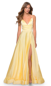 La Femme - 28607 Faux Wrap Satin High Slit A-Line Gown In Yellow