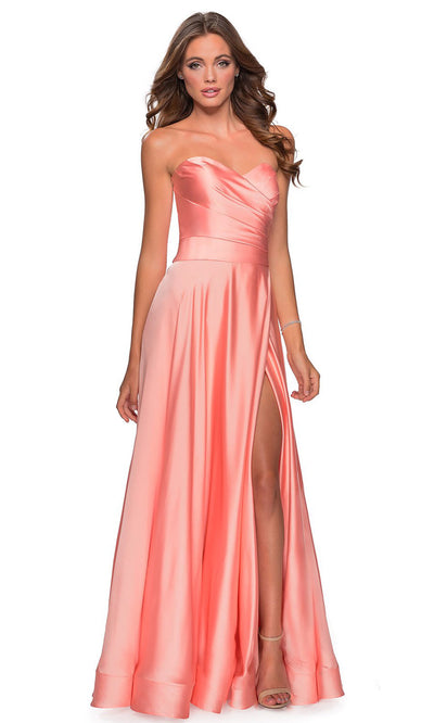 La Femme - 28608 Strapless Satin High Slit A-Line Gown In Coral & Orange